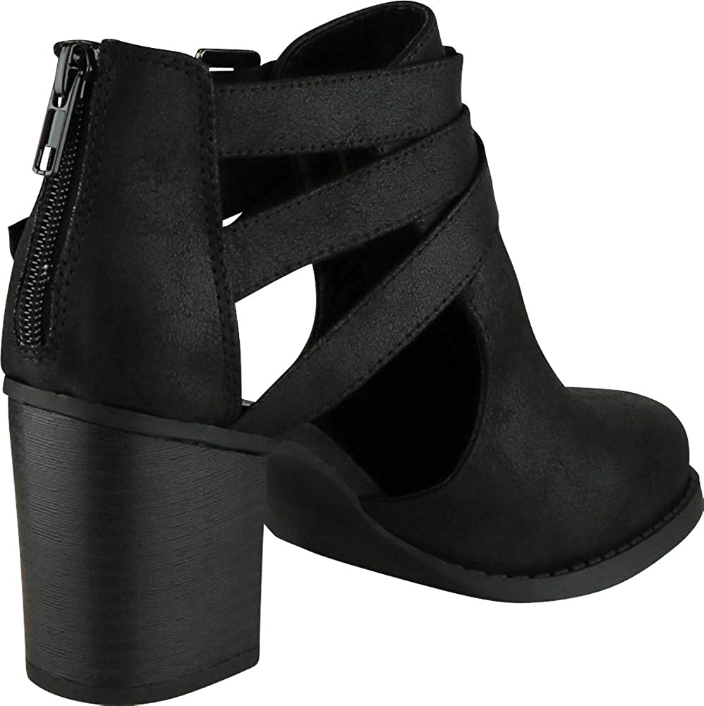 Cambridge Select Womens Buckle Side Cut Out Chunky Stacked Heel Ankle Bootie