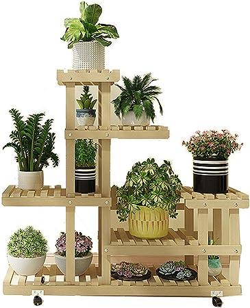 Soporte de planta de jardín Puesto de flores con las ruedas de múltiples capas de la población de plantas de jardín de madera de pantalla Bastidores Estanterías Balcón Decoración Exhibición del estant: