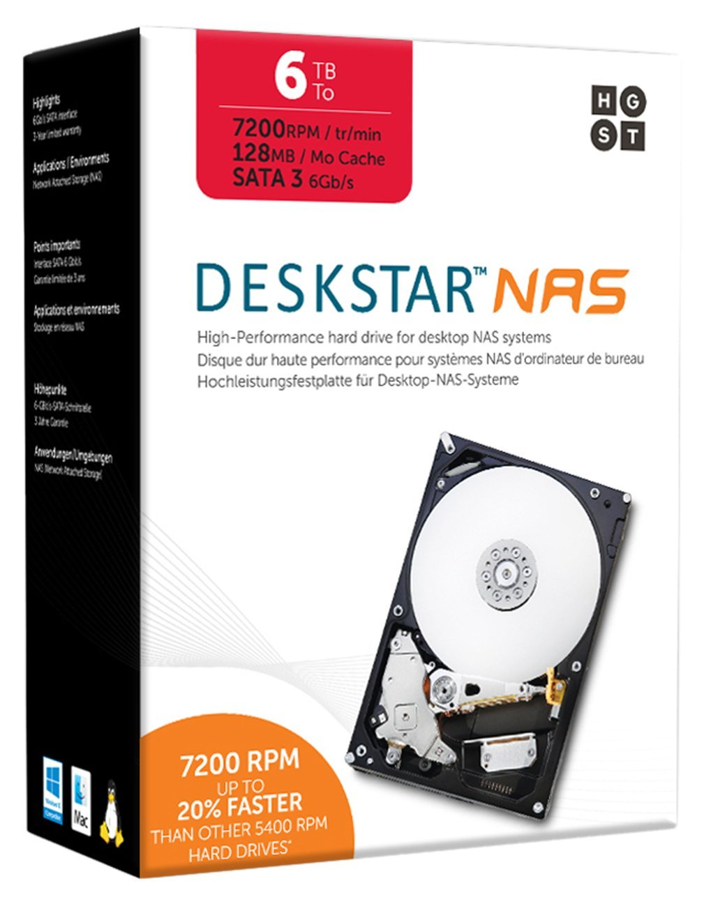 HGST DeskStar NAS 3.5'' 6TB 7200 RPM 128MB Cache SATA 6.0Gb/s High-Performance Hard Drive for Desktop NAS Systems Retail Packaging 0S04007 by HGST - BRANDED