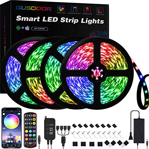 Gusodor Led Strip Lights 65.6 Feet Led Lights Music Sync Smart Rope Lights Color Changing Timing with 24 Key Remote App Control RGB Tape Light DIY Colors Led Lights for Bedroom Home TV Party