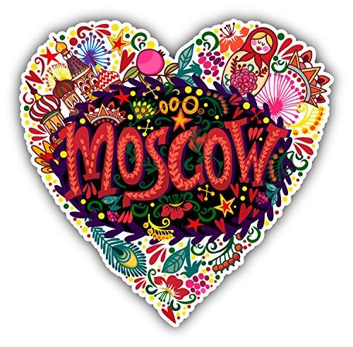 "Love Moscow City Russia Heart Car Bumper Sticker Decal 5"" x 5"""