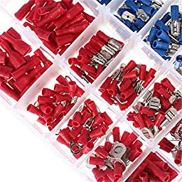 Soloop 480Pcs 12 Size Assorted Insulated Electrical Wiring Wire Terminal Crimp Connector Kit Butt Spade Set