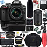 Nikon D3400 24.2 MP Digital SLR Camera + 18-55mm & 70-300mm Dual Lens Tascam Video Creator Bundle