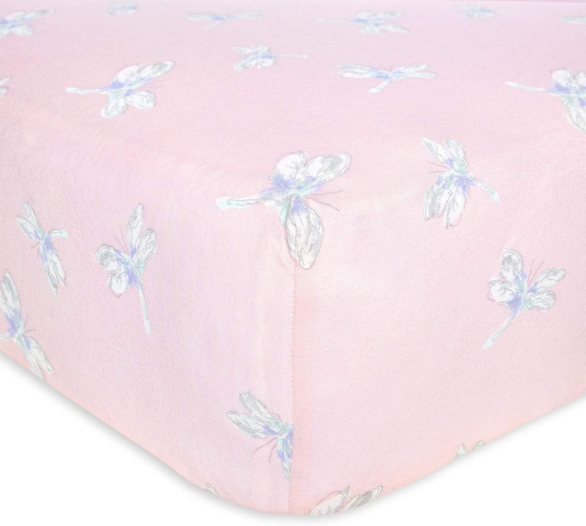 Burt's Bees Baby - Fitted Crib Sheet, Girls & Unisex 100% Organic Cotton Crib Sheet for Standard Crib and Toddler Mattresses (Pink Dragon Fly)