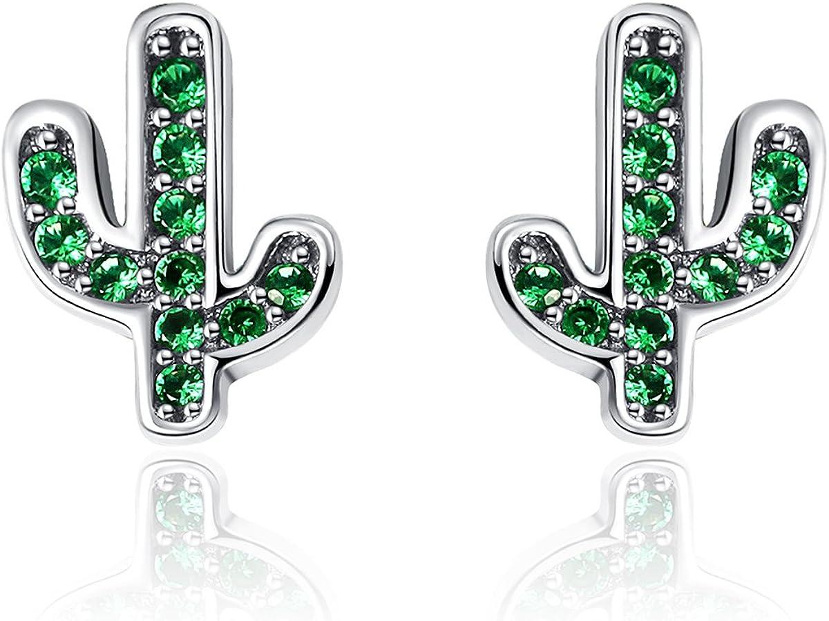 Pendientes de plata de ley 925 con cristales de cactus de color verde deslumbrante para mujeres, joyas de plata auténtica, Bijoux