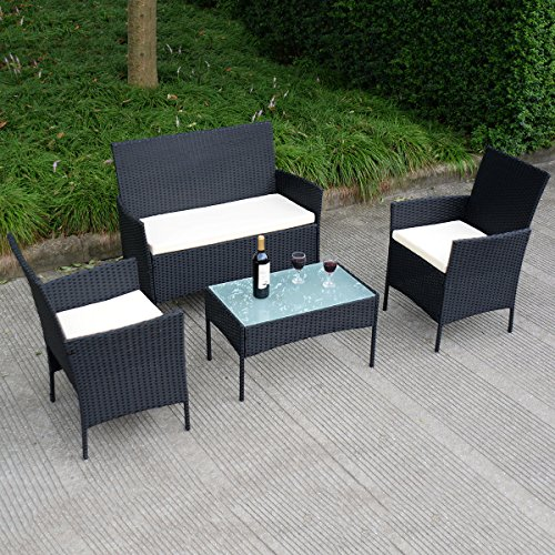 Tangkula 4 pcs wicker furniture set rattan sofas garden for Lawn and garden furniture