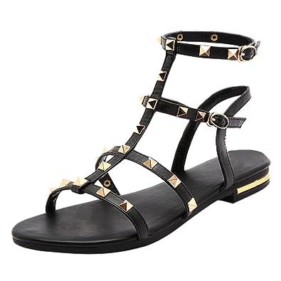 YE Damen Offene Flache Ankle Strap Sandalen Leder mit Riemchen und Nieten Bequem Schuhe