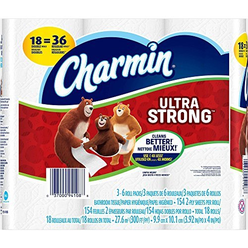 Charmin Ultra Strong Bathroom Tissue 18 Double Rolls, 154 sheets, 2 Ply Sheets Per Roll