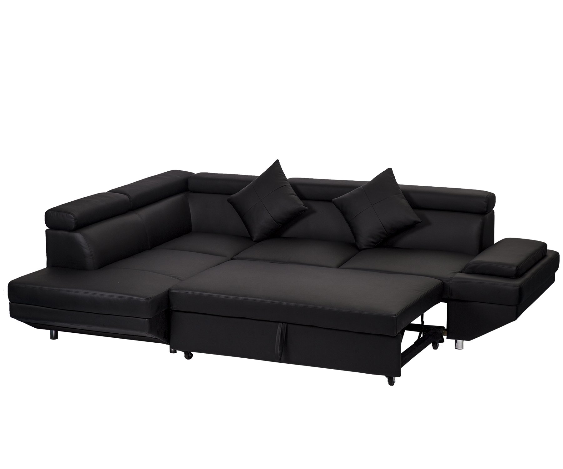 Details about 2PC Black Sleeper Sectional Futon Sofa Faux Leather Corner  Sofa Bed Living Set