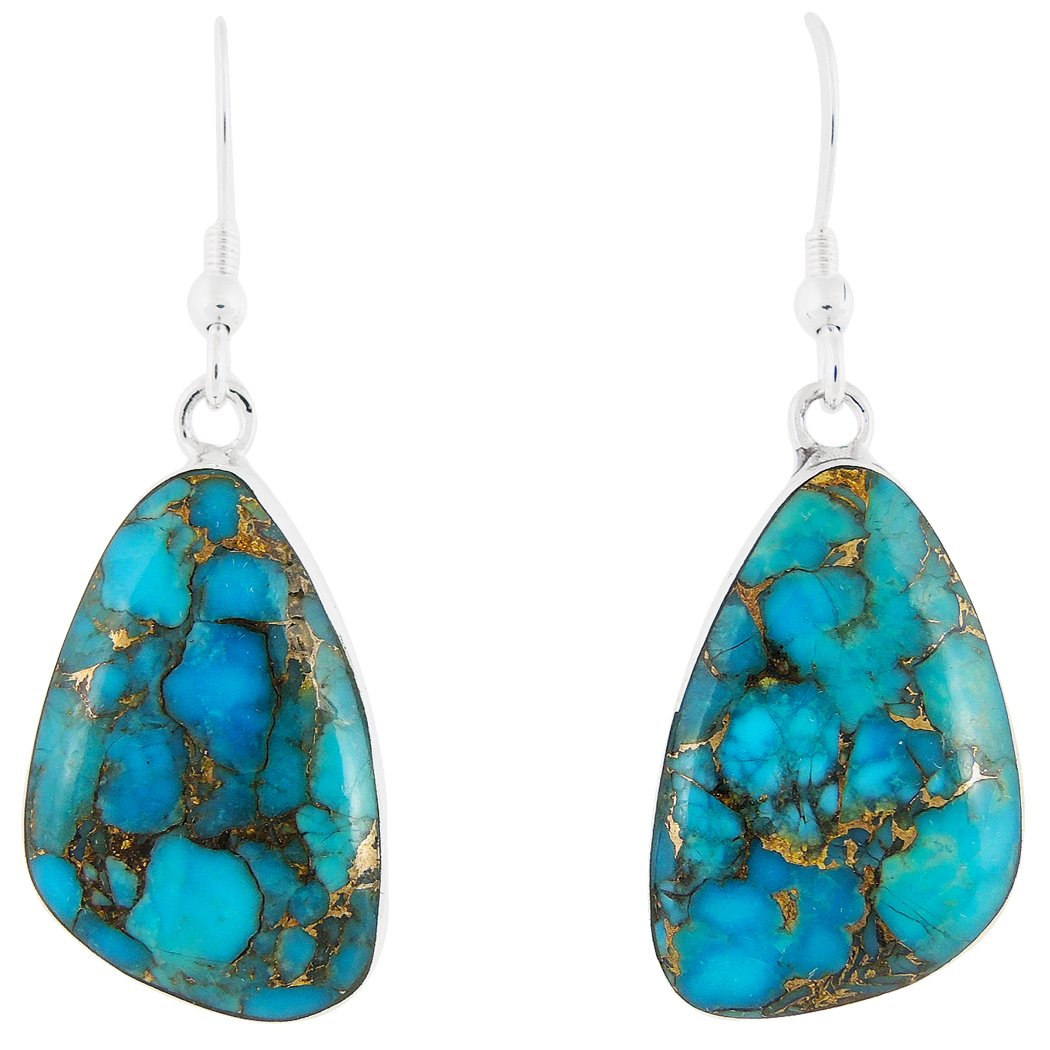 Turquoise Earrings 925 Sterling Silver Copper-Infused Matrix Turquoise (Select Style) (Freeform Drops)