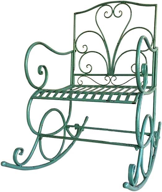 YDLOP Silla Mecedora Individual de Hierro Forjado para Exteriores, sillón de jardín de Ocio con Respaldo Elevado - Verde 1126-YY: Amazon.es: Hogar