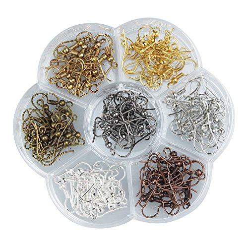 Ear Wires, Heirtronic 140 Pieces Stainless Steel Fish Earring Hooks with Transparent Storage Box, 7 Colors ()