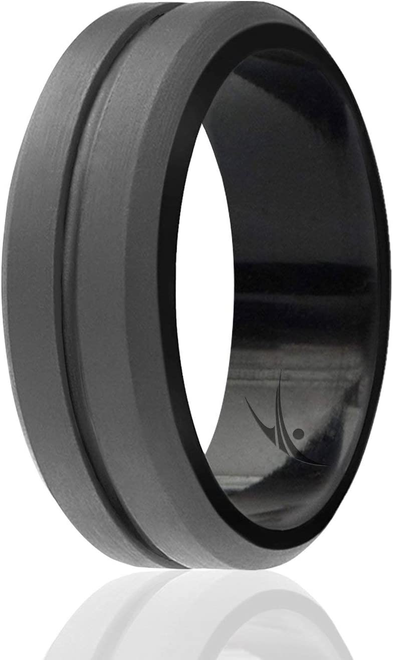 ROQ Silicone Wedding Ring for Men 4 Packs or 1 Single Ring Mens Silicone Rubber Wedding Bands Engraved Middle Line Beveled Edge Style Metal /& Vivid Matte Colours