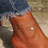 Yesiidor Bohemian Heart Pendant Double Layer Anklet Fashion Vintage Exquisite Bead Chain Anklet Beach Sandal Barefoot Anklet Bracelet Foot Jewelry