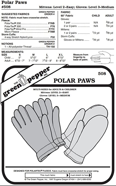 Polar Paws #508 For Adults and Children Gloves Mittens Sewing Pattern Pattern Only