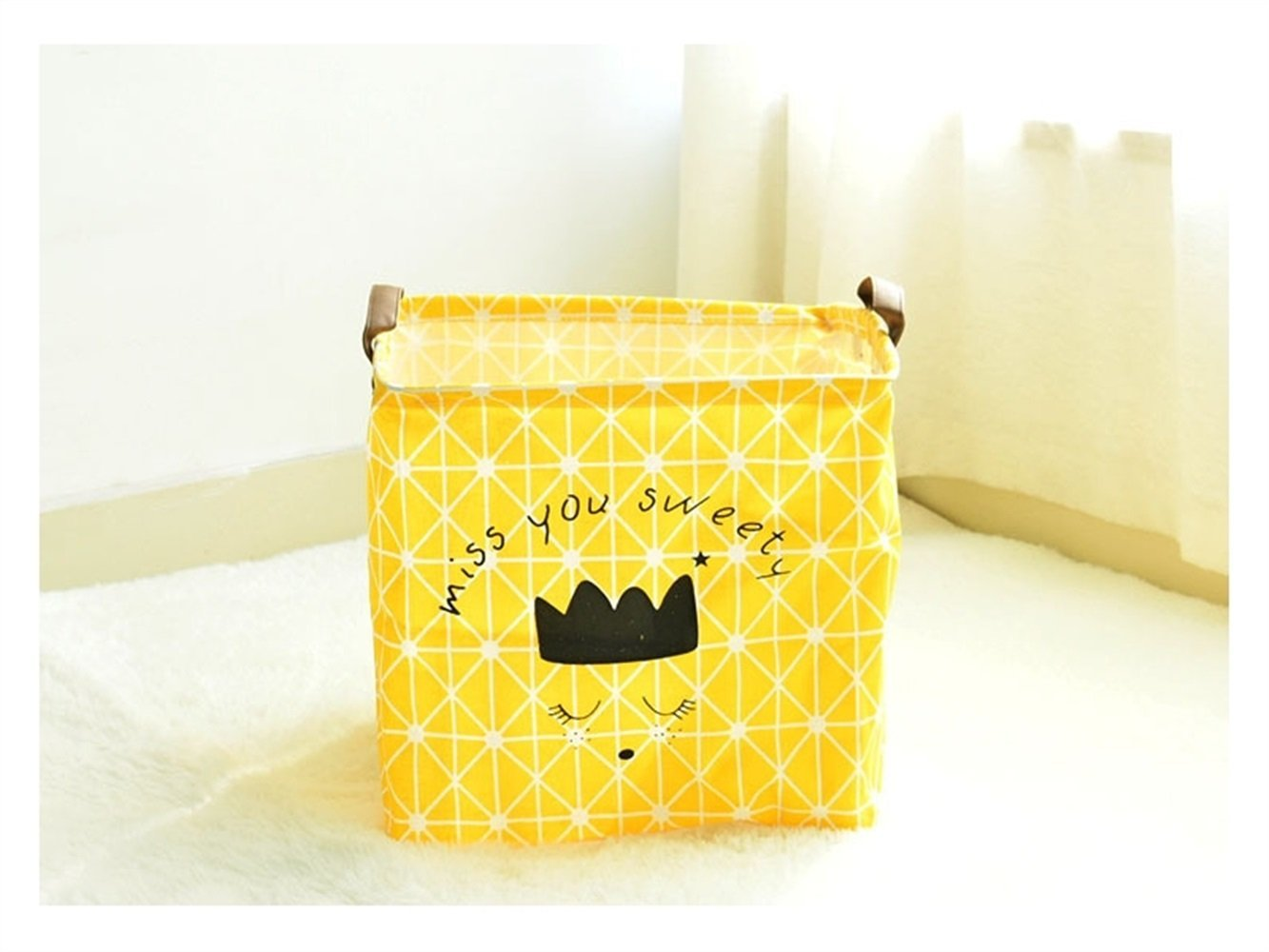 Gelaiken Lightweight Miss You Sweety Square Storage Box Desk Storage Box Holder Jewelry Stationery Cosmetic Case Sundries Storage Box(Yellow)
