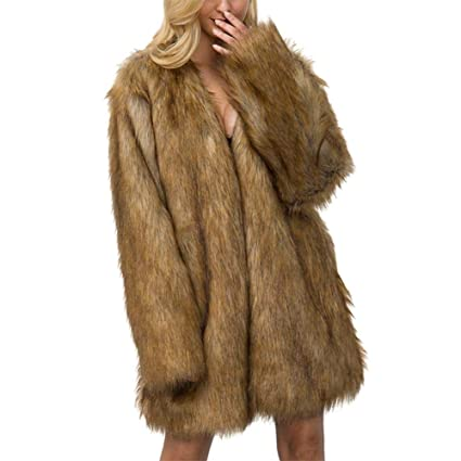 libeauty Abrigo Casual con Cuello en V de Color sólido de imitación de Moda para Mujer