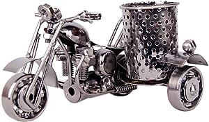 Motorcycle Pencil Holder,Metal Motorcycle Pen Holder,Desk Accessories,Creative Office Desktop Artwork(Black)