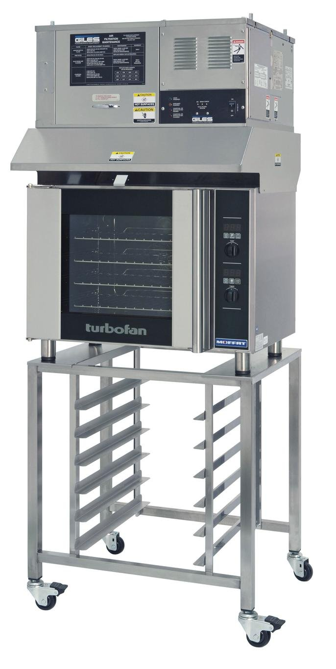 Moffat E31D4/OVH-31D Turbofan Electric Countertop Convection Oven, (4) 1/2 Size Sheet Pan Capacity With SK2731U Stand, Ventless Hood & Digital Controls