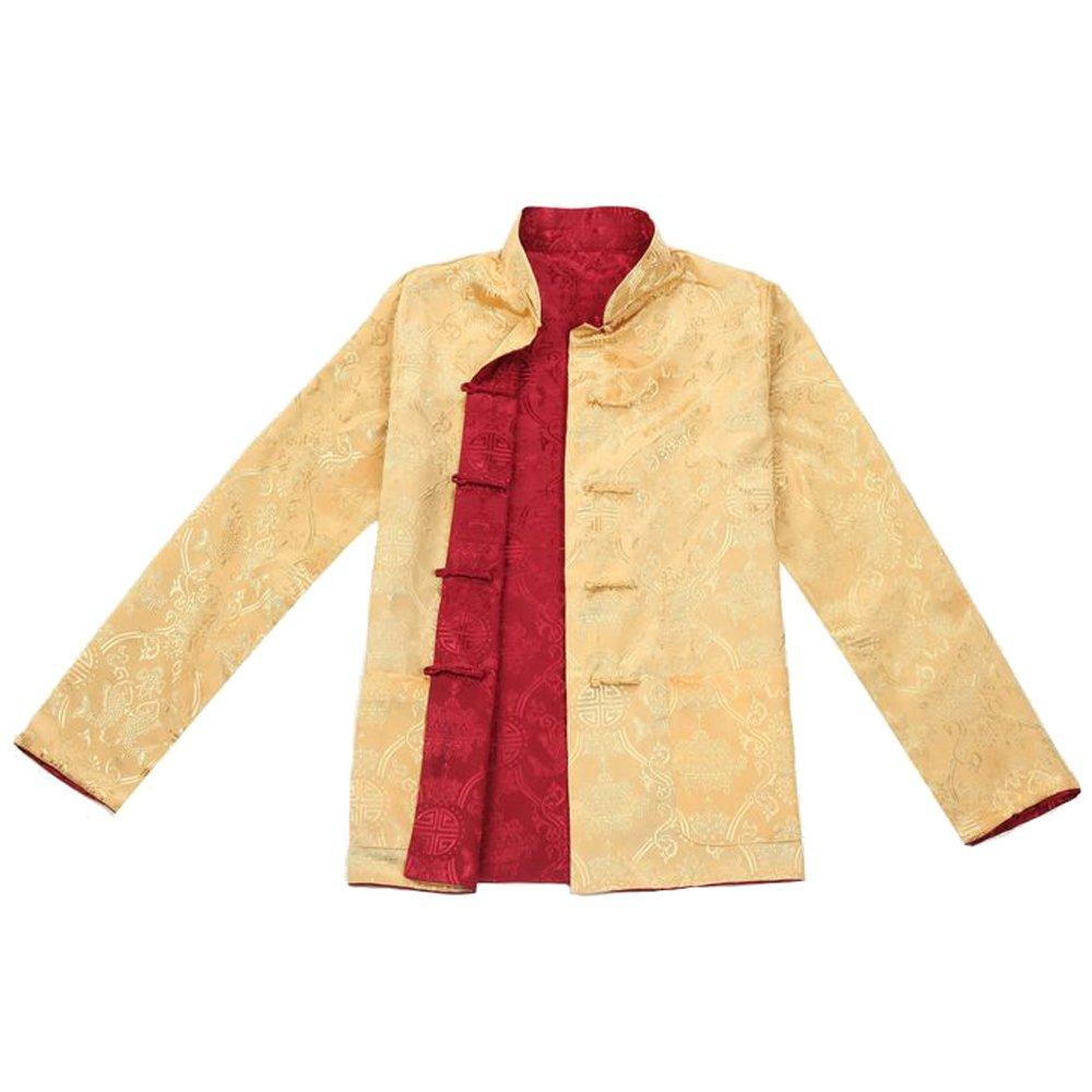 BOZEVON Men Reversible Both Sides Coat Jacket Chinese Traditional Tang Suit Long Sleeve Martial Arts Kung Fu Shirt by BOZEVON