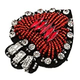 Iron on Sew On Beads Rhinestones Love Heart Patch Handmade Applique