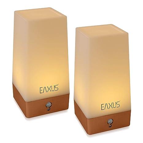 Eaxus® 2 lámparas de mesa y luz nocturna LED con sensor de ...