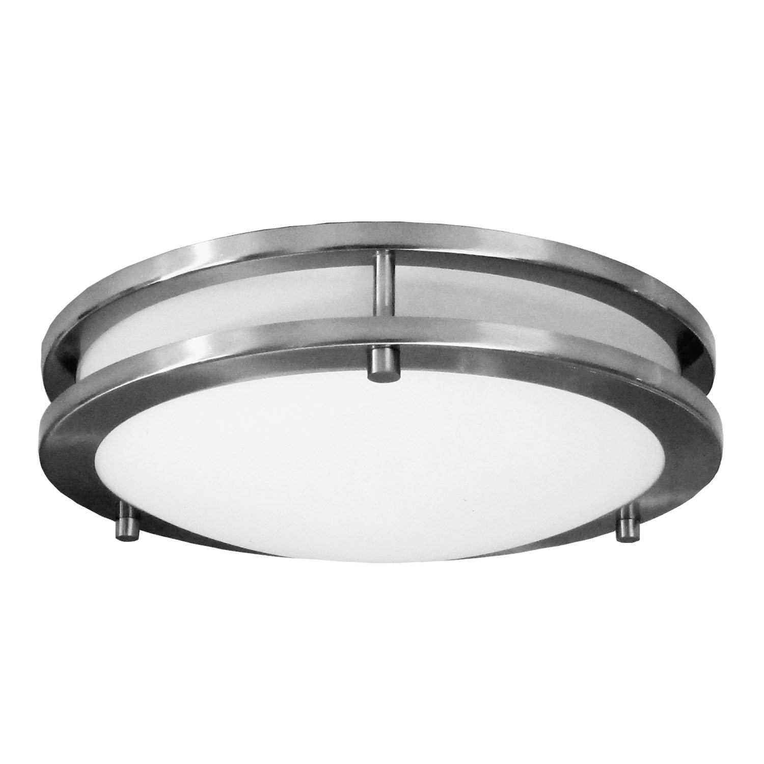 nickel light fixtures bathroom homeselects 6106 flush mount ceiling light brushed nickel with opal glass globe 16