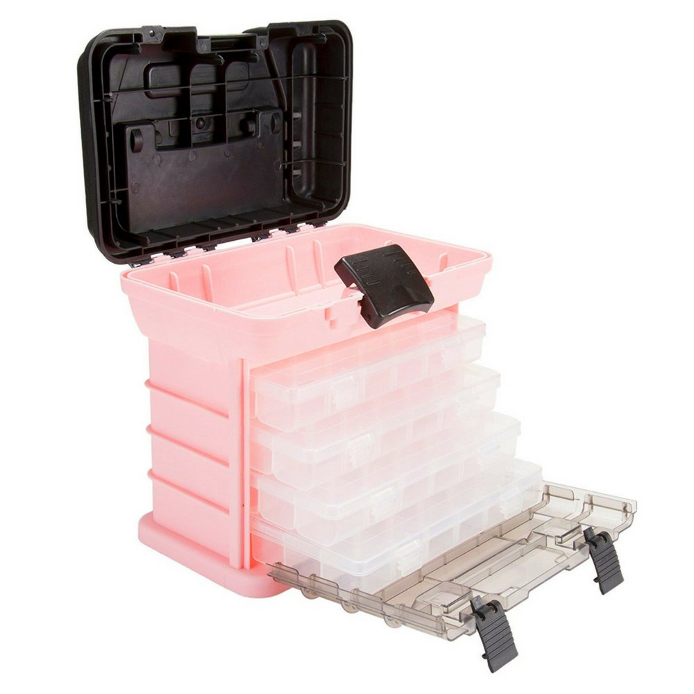 Small Tool Box with Drawers Cabinet Removeable Trays Storage Crafts or Beads Durable Plastic Compartments Unique Rack System Storage Organizer Utility for Home Garage Pink & eBook by BADA shop