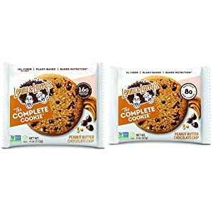 Lenny & Larry's The Complete Cookie, Peanut Butter Chocolate Chip, 16g Plant Protein, 4 Ounce Cookie (Pack of 12) & The Complete Cookie, Peanut Butter Chocolate Chip, 2 Ounce Cookies - 12 Count