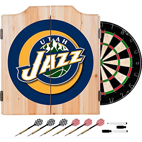 NBA Utah Jazz Wood Dart Cabinet Set by Trademark Gameroom