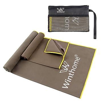 Winthome 2 Unidades Microfibra Toalla Gimnasio,Toalla Deportiva Secado Rápido con una Bolsa,Toalla para Playa/Gimnasio/Viajes (Gris): Amazon.es: Deportes y ...