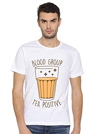 4e10b07a2 Canis Tea Positive Blood Group : Printed :: | Trendy | Round/Crew Neck Men's  White Polyester Blend Printed T-Shirt: Amazon.in: Clothing & Accessories