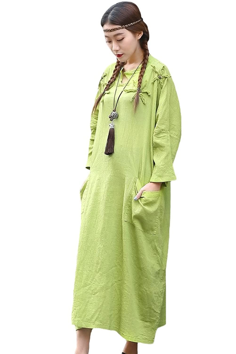 Vogstyle Women's Spring/Autumn New Embroidery Loose Pullover Style Dresses Solid Color