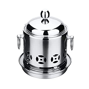 a253a0bb48a9 HOMYL Stainless Steel Hot Pot with Alcohol Burner & Lid for Cooking ...