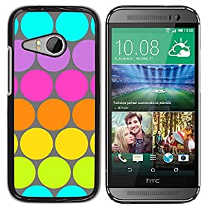 iKiki Tech / Estuche rígido - Dot Pattern Blue Lime Green Colorful - HTC ONE MINI 2 / M8 MINI
