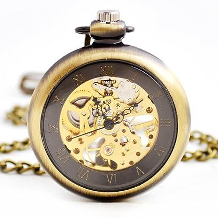 SW Watches Reloj De Bolsillo Mecánico Automático Esqueleto Sin Cubierta Reloj Unisex De Cadena
