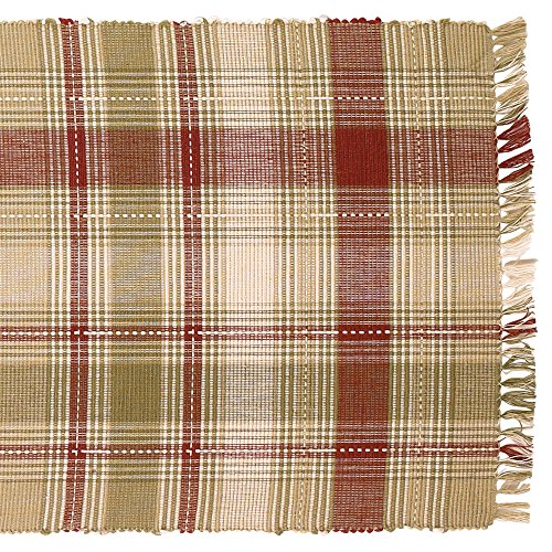 - Brandywine Green and Red Plaid 13 x 36 Burlap Embroidered Applique Table Runner