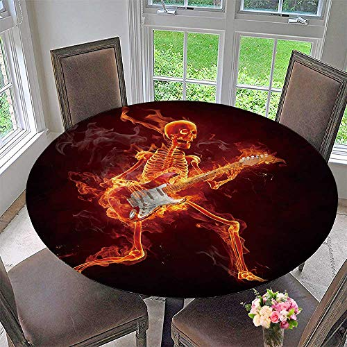 PINAFORE HOME Elasticized Table Cover Guitarist Serie Fiery s Machine Washable 40