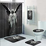 Lijiaohome 5 Piece Bath Accessory Set Bathroom Rugs & Shower Curtain & Bath Towel,Sculpture of an Angel with Dark Background Catholic lief Century Old Artwork Decorate the bathroom