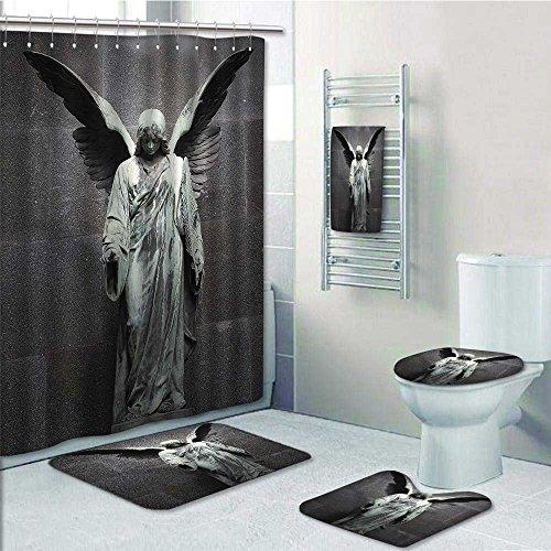 Lijiaohome 5 Piece Bath Accessory Set Bathroom Rugs & Shower Curtain & Bath Towel,Sculpture of an Angel with Dark Background Catholic lief Century Old Artwork Decorate the bathroom by Lijiaohome