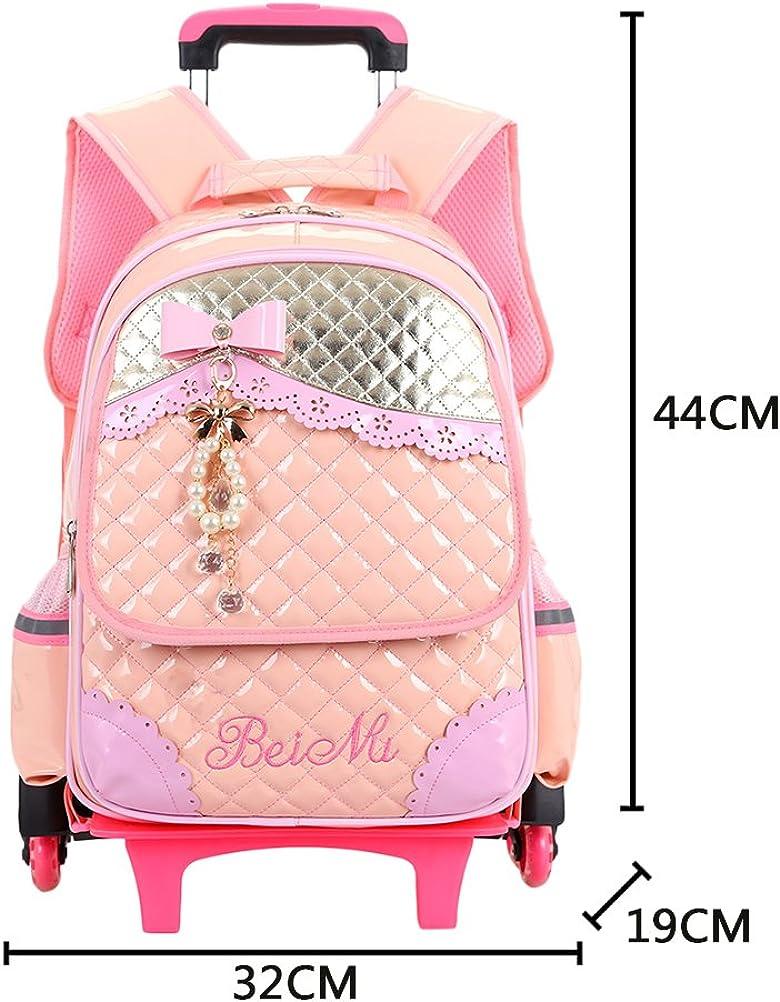 Zhhlinyuan Rolling Luggage Students Backpack Girls School Bags Trolley Bookbag