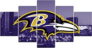 SANZHAIYISHENG Baltimore Ravens Poster NFL Sport Art Prints on Canvas for Bedroom Living Room Wall Decoration Painting 5 Piece Set Unframed U