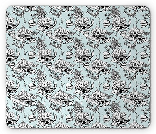 Ambesonne Shabby Chic Mouse Pad, Vintage Monochrome Pond Water Flowers Lily Carp Snail Twigs Artwork, Standard Size Rectangle Non-Slip Rubber Mousepad, Baby Blue Black (Monochrome Twigs)