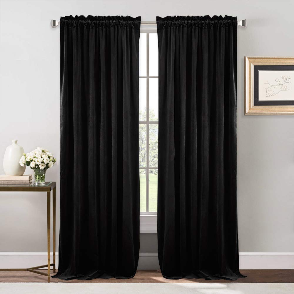NICETOWN Bedroom Velvet Blackout Curtain Panels - Solid Heavy Matt Rod Pocket Drapes/Window Treatments (2 Pieces, 96 inch Long, Black)