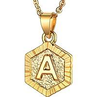 U7 Initial Letter Pendant Halo Square/Hexgon Tag Monogram Charm 18K Gold/Platinum Plated Cooper Based Name Necklace…