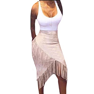 Abetteric Women's Solid Colored Macrame Unbalanced Hem Skirt with Tank