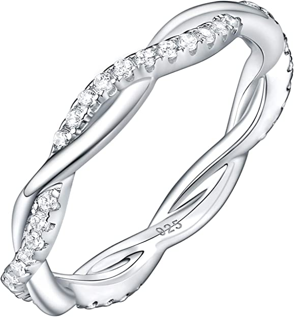 dnswez Womens Eternity Rings Engagement Ring 3 Rows Cubic Zirconia Band Ring for Women