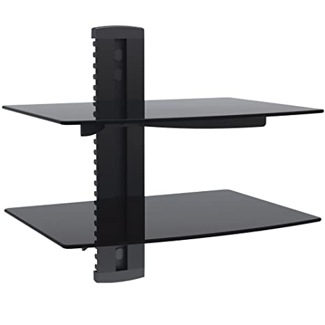 Amazoncom Vonhaus 2 Tier Floating Black Shelves With Flat Black