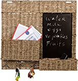 Trademark Innovations 24'' Seagrass Wall Mounted Key Hook Holder with Chalkboard and Two Compartments by
