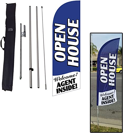 Amazon Com Open House Feather Flag Sign For Real Estate Advertising Feather Banner Flag With 8 Foot Flag Pole Kit Ground Stake And Travel Bag Signs For Agents Outdoor Flags